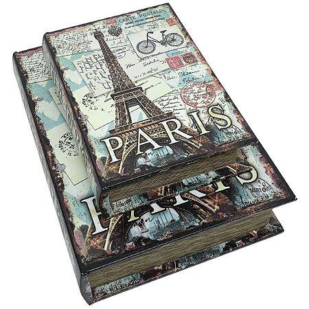 Kit Caixa Livro Decorativa France Paris Bike - 2 peças