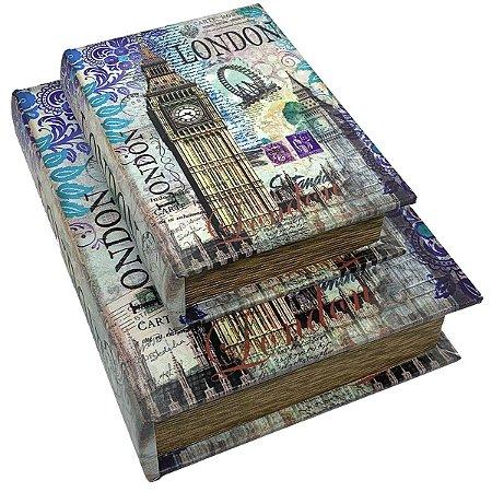 Kit Caixa Livro Decorativa London Big Ben - 2 peças