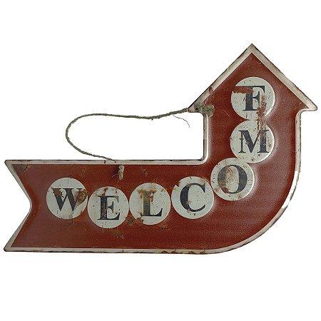 Placa de Metal Decorativa Seta Welcome