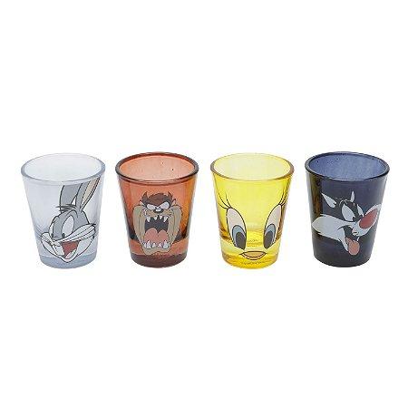 Set Copos Shot Personagens Looney Tunes - 4 peças
