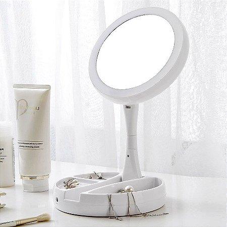 Espelho Makeup  Dupla Face com luminária LED