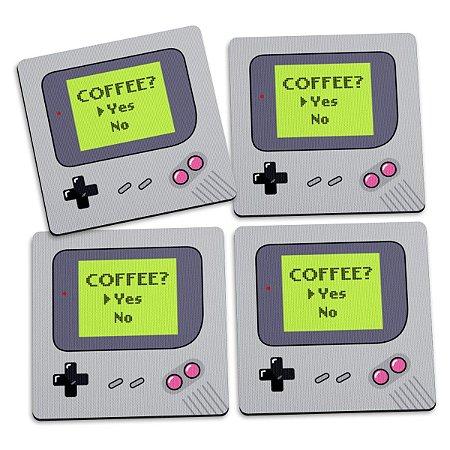 Jogo de Porta Copos Gamer Boy Coffee Yes - 4 peças