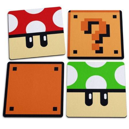 Jogo de Porta Copos Cogumelos e Blocos - 4 peças