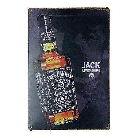 Placa de Metal Whisky Jack Daniel's live here - 30 x 20 cm