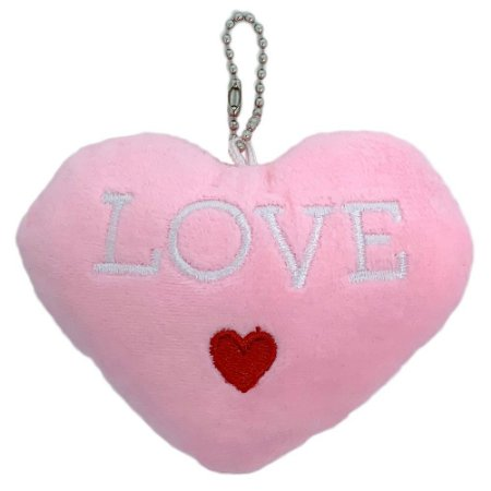 Chaveiro coração de pelúcia Love - rosa claro