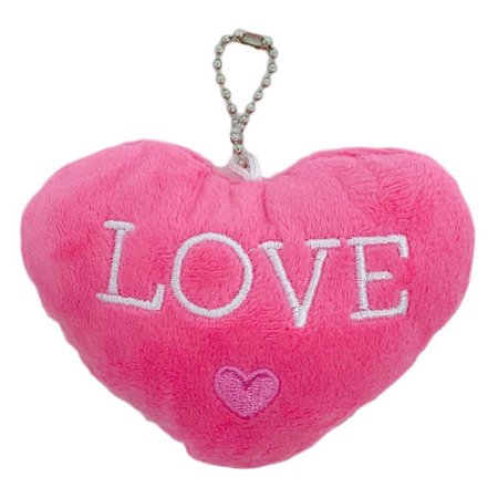 Chaveiro coração de pelúcia Love