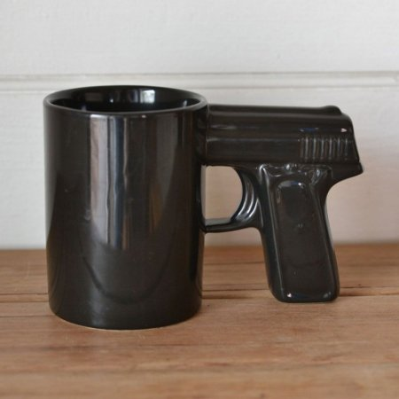 Caneca Revolver Pistola Glock - preta