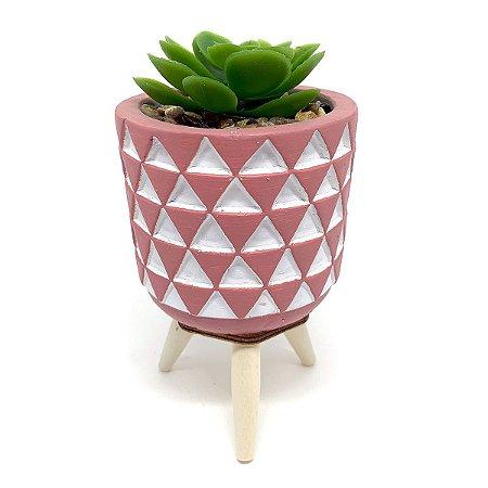 Vasinho Decorativo Triângulos planta suculenta artificial - rosa