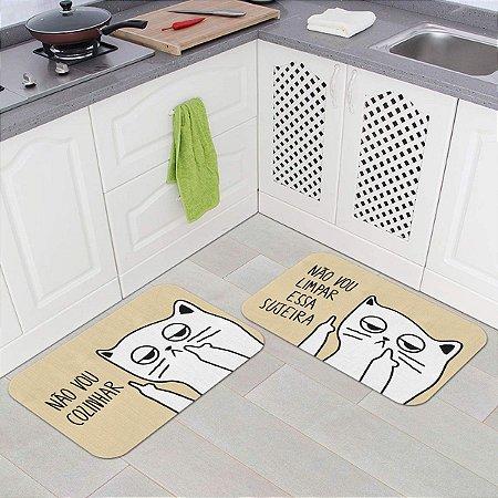 Kit Tapetes de Cozinha Gatinho Ranzinza Não vou limpar