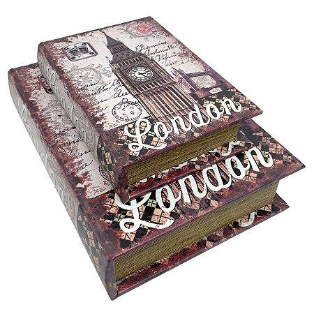 Kit Caixa Livro Decorativa London Londres Big Ben - 2 peças