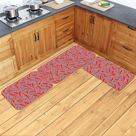 Kit Tapetes de Cozinha Pimentas - 3 peças