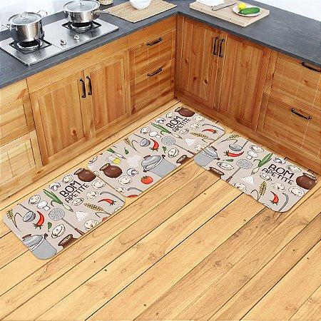 Kit Tapetes de Cozinha Bom Apetite - 3 peças