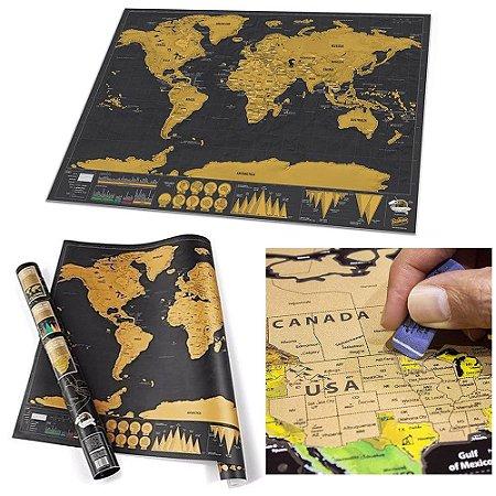 Mapa Mundi para Raspar Mapa do Mundo Grande 80 x 60 cm