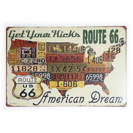 Placa de Metal Route 66 Get Your Kicks - 30 x 20 cm