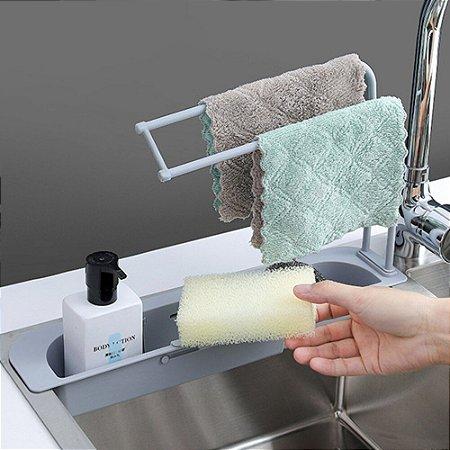 Suporte Multiuso para pia Ajustável Detergente Pano