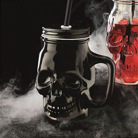Caneca de Vidro Caveira Skull com tampa e canudo - black