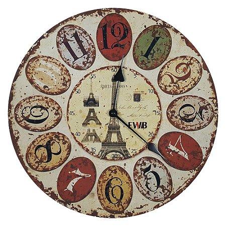Relógio de parede Retrô Torre Eiffel