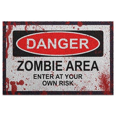 Capacho em Vinil Danger Zombie Area - 60 x 40
