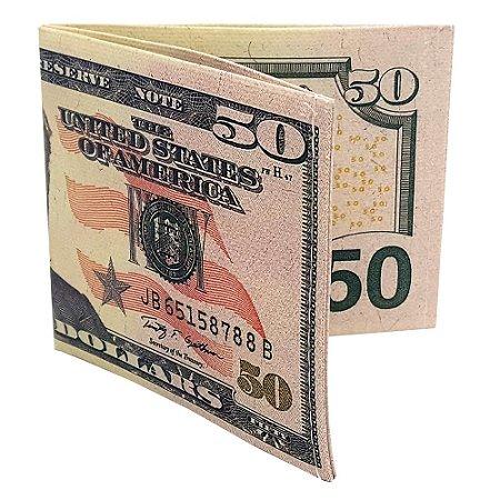 Carteira Slim Dinheiro Nota de 50 Dólares