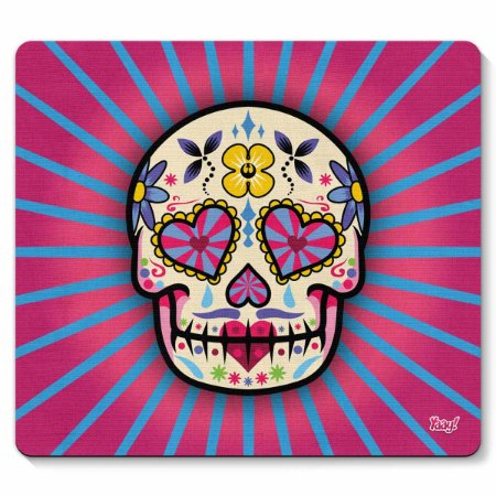 Mouse pad Caveira Mexicana Dia de Los Muertos - rosa