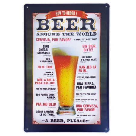 Placa de metal decorativa Retrô How to order a Beer around the World