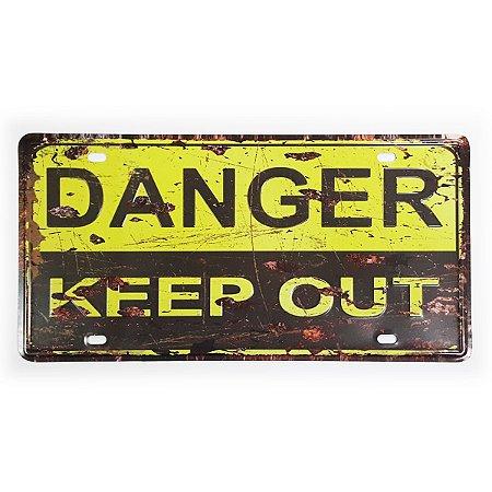 Placa de Metal Decorativa Danger Keep Out - 30 x 15 cm