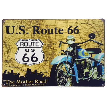 Placa de Metal Decorativa US Route 66 - 30 x 20 cm