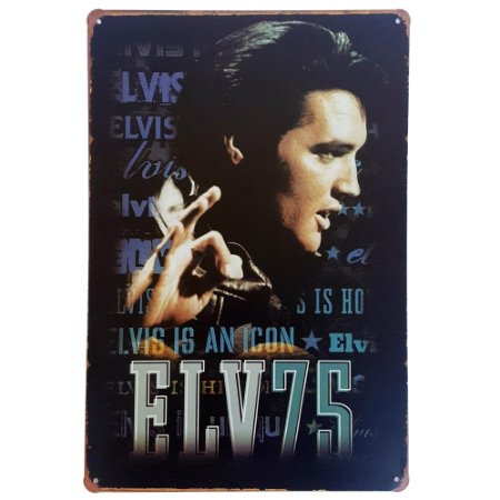 Placa de Metal Decorativa Elvis Presley is an Icon - 30 x 20 cm