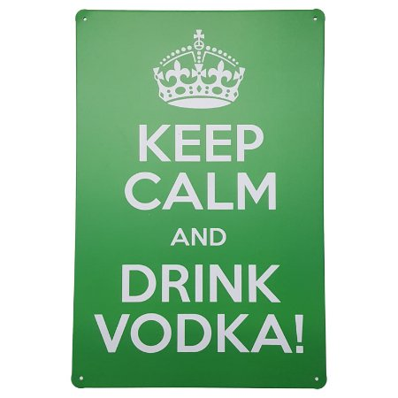 Placa de Metal Decorativa Keep Calm Drink Vodka