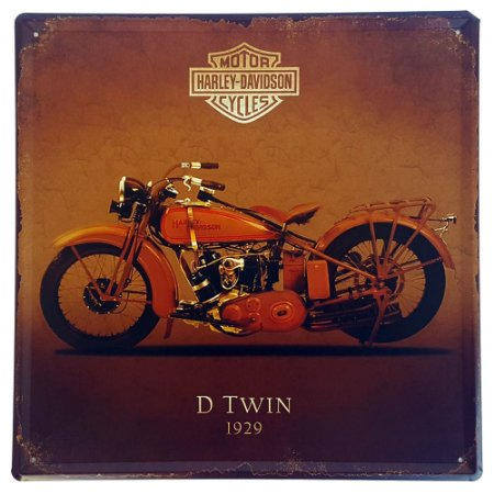 Placa de Metal Decorativa Harley Davidson D Twin 1929 - 30 x 30 cm