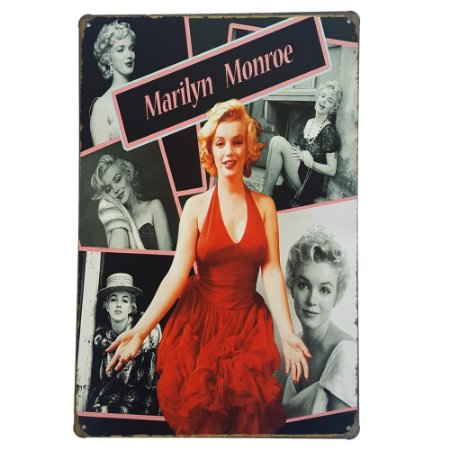 Placa de Metal Decorativa Marilyn Monroe - 30 x 20 cm