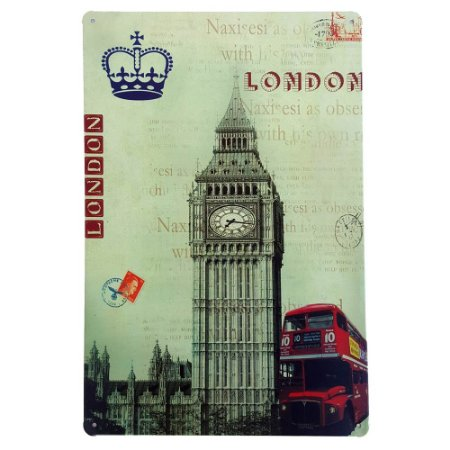 Placa de Metal Decorativa Londres - 30 x 20 cm