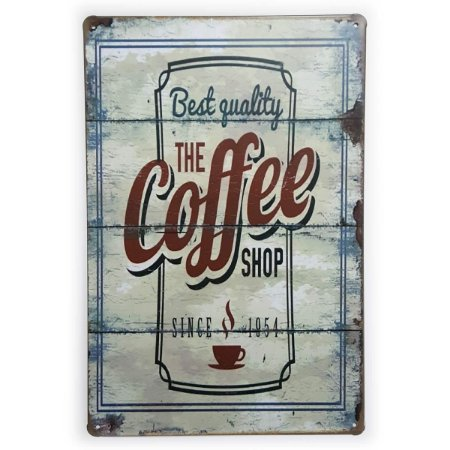 Placa de Metal The Coffee Shop Since 1954 - 30 x 20 cm