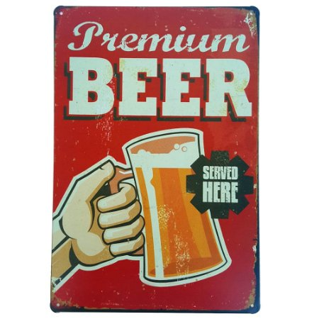 Placa de Metal Decorativa Premium Beer - 30 x 20 cm