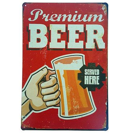 Placa de Metal Decorativa Premium Beer - 30 x 20 cm