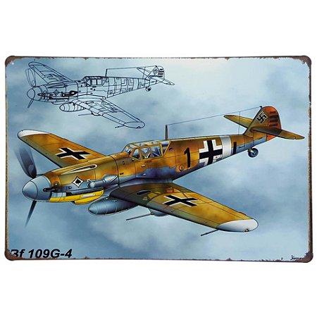 Placa de Metal Decorativa Avião BF 109G-4 - 30 x 20 cm