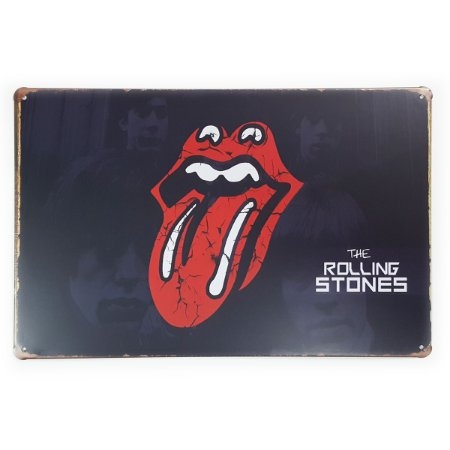 Placa de Metal The Rolling Stones black - 30 x 20 cm