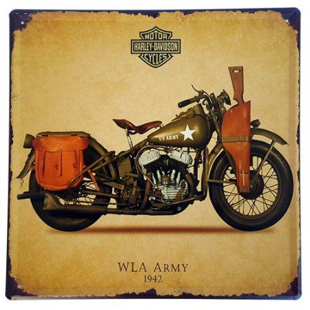 Placa de Metal Decorativa Harley Davidson WLA Army 1942 - 30 x 30 cm