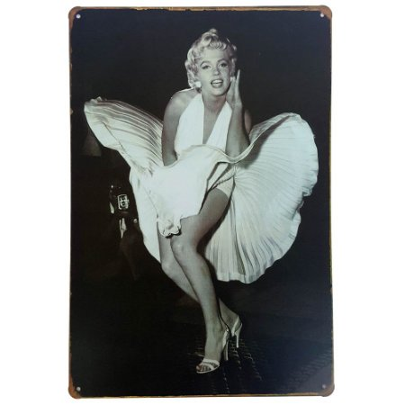 Placa de Metal Decorativa Marilyn Monroe PB - 30 x 20 cm