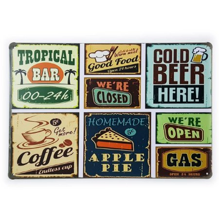 Placa de Metal Food Bar Beer and Coffee - 30 x 20 cm