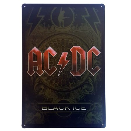 Placa de Metal Decorativa ACDC Black Ice - 30 x 20 cm