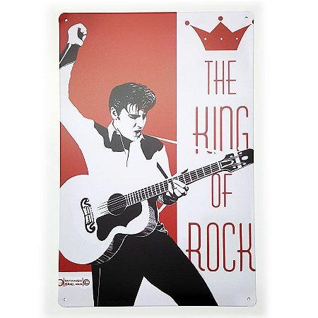 Placa de Metal Decorativa Elvis Presley King of Rock