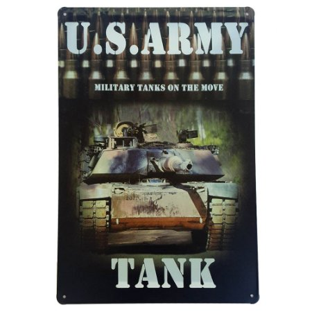 Placa de Metal Decorativa US Army Tank - 30 x 20 cm