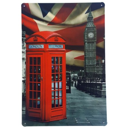 Placa de Metal Decorativa London - 30 x 20 cm