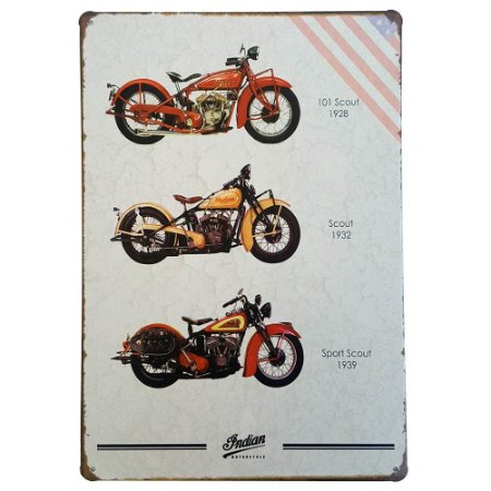 Placa de Metal Decorativa Indian Motorcycle Scout - 30 x 20 cm