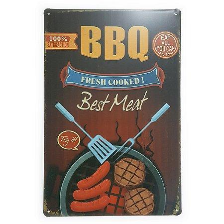 Placa de Metal BBQ Fresh Cooked - 30 x 20 cm