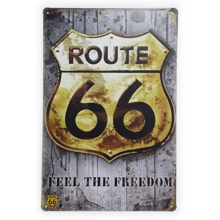 Placa de Metal Route 66 Feel the Freedom - 30 x 20 cm