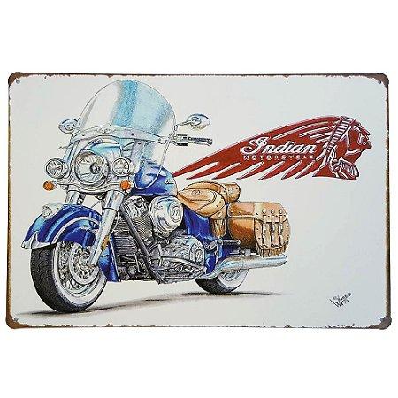 Placa de Metal Decorativa Indian Motorcycle - 30 x 20 cm