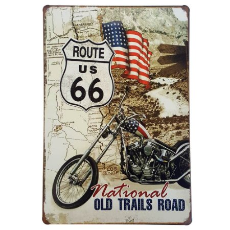 Placa de Metal Decorativa Old Trails Road - 30 x 20 cm