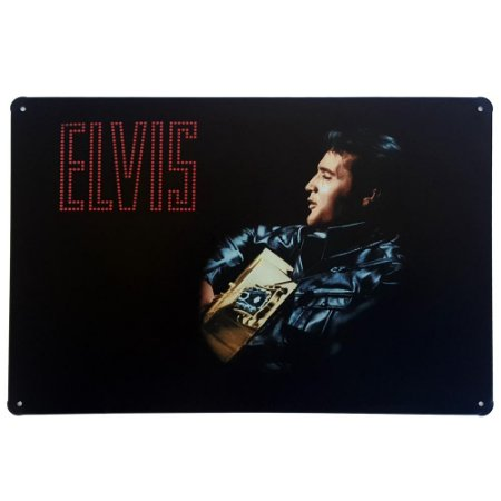 Placa de Metal Decorativa Elvis Presley - 30 x 20 cm